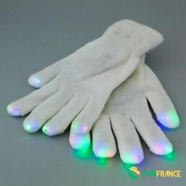 FUNFRANCE - E-Commerce Français : Gants blancs à LED multicolore taille unique - 6.208333€/ht - Gants blancs à LED multicolore t