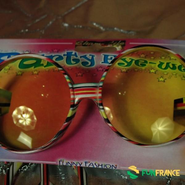 Lunettes de fête Hippi jaunes avec boucles d'oreilles