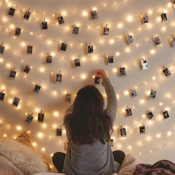 FUNFRANCE - E-Commerce Français : Guirlande lumineuse à Clip pour photos piles ou USB ( 2m/5m/10m) - 4.75€/ht - Guirlande lumine