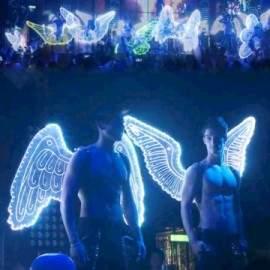 Ailes d'ange lumineuses à led légers pour spectacle sur scène ou boîte de nuit et bar