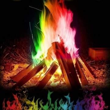 Poudre colorée pour feux de plein air