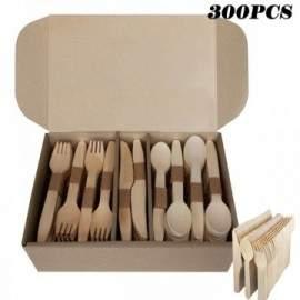 300 couverts jetables en bois Cuillères, couteaux, fourchettes