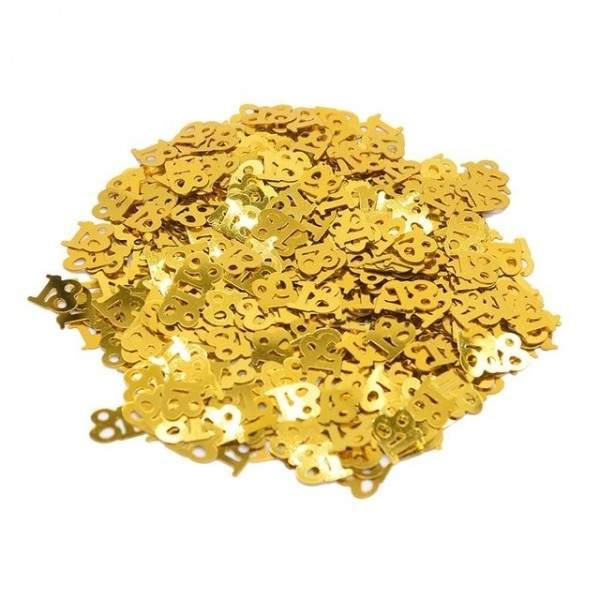 FUNFRANCE - E-Commerce Français : Confettis de Table dorées numéros 18 30 40 50 60 (15g/sac) - 1.67€/ht - Confettis de Table dor