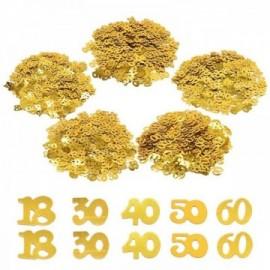 Confettis de Table dorées numéros 18 30 40 50 60 (15g/sac)