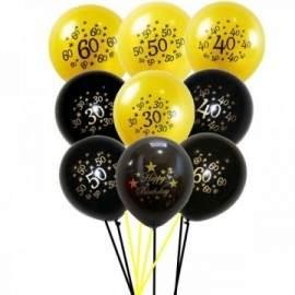 Lot de 5 ballons anniversaire 30 40 50 60 ans