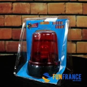 FUNFRANCE - E-Commerce Français : Gyrophare rouge à piles 11cm - 3.541667€/ht - Lampe gyrophare sur socle, avec interrupteur mar
