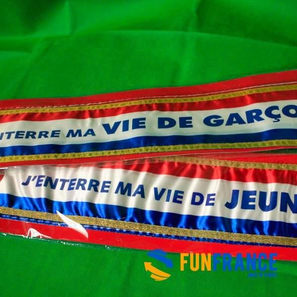 """FUNFRANCE - E-Commerce Français : Echarpe officielle """"j'enterre ma vie de garçon' - 8.25€/ht - Cette écharpe d'enterrement de vi"""