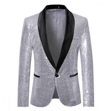 FUNFRANCE - E-Commerce Français : Veste à paillettes scintillantes pour homme - 35.43€/ht - Veste à paillettes scintillantes pou