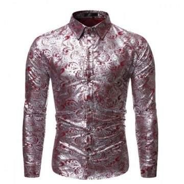 FUNFRANCE - E-Commerce Français : Chemise manches longues en Satin Floral pour homme - 9.6€/ht - Chemise manches longues en Sati