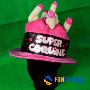 FUNFRANCE - E-Commerce Français : Chapeau SUPER COQUINE - 10.25€/ht - Chapeau SUPER COQUINEhumoristique pour adulte en tissu ef