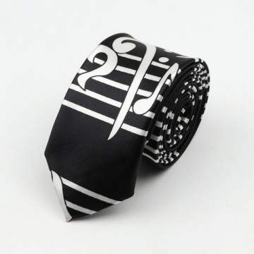 FUNFRANCE - E-Commerce Français : Cravate pour hommes Polyester, Notes musicales imprimées, 5cm de large - 2.35€/ht - Cravate po