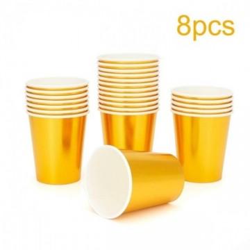 FUNFRANCE - E-Commerce Français : Vaisselle jetable dorée (Gobelets - Serviettes -  Couteaux -  Fourchettes - Verres) - 2.42€/ht