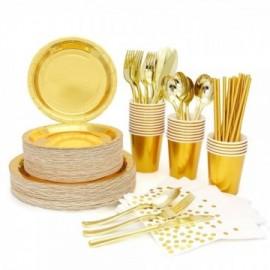 Vaisselle jetable dorée (Gobelets - Serviettes -  Couteaux -  Fourchettes - Verres)
