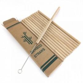 Pailles à boire en bambou. Ensemble de 12 pièces avec brosse de nettoyage