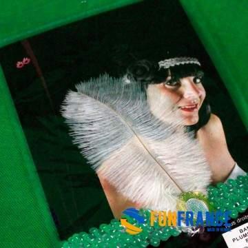 FUNFRANCE - E-Commerce Français : Bandeau plume blanche - 3.25€/ht - Bandeau avec plume blanche style rétro.