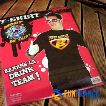 FUNFRANCE - E-Commerce Français : T-shirt SUPER BUVEUR - 11.583333€/ht - T-shirt SUPER BUVEUR (Taille unique). Rejoint le drink