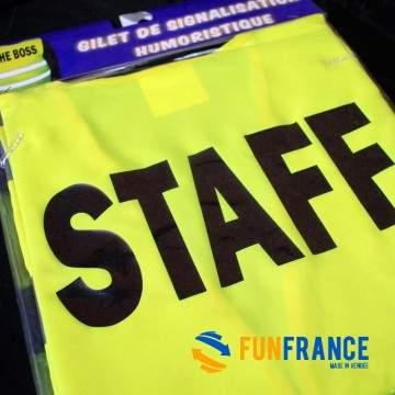 FUNFRANCE - E-Commerce Français : T-shirt humour fluo STAFF - 5.416667€/ht - T-Shirt STAFF. Indiquez à vos invité que vous faite