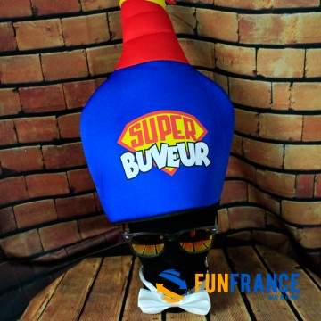 """FUNFRANCE - E-Commerce Français : Toque chapeau humour Super Buveur - 6.208333€/ht - Toque chapeau humoristique """"Super buveur""""."""