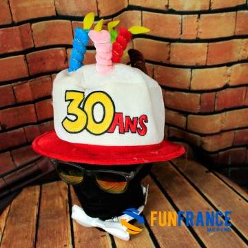 FUNFRANCE - E-Commerce Français : Chapeau anniversaire 30 ans - 6.208333€/ht - Chapeau anniversaire 30 ans. Fêtez vos 30 ans en
