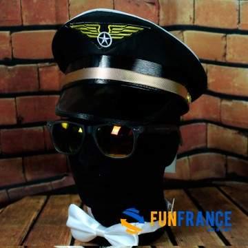 FUNFRANCE - E-Commerce Français : Casquette aviateur adulte - 3.9€/ht - Casquette de pilote NOIRE avec ornements OR. Matière 100