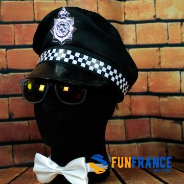 FUNFRANCE - E-Commerce Français : Casquette Police noire avec écusson - 4€/ht - Casquette d'officier de police NOIRE. Matière 10