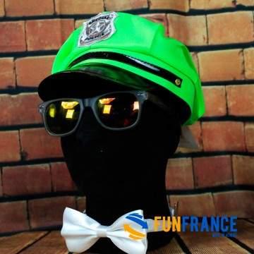 FUNFRANCE - E-Commerce Français : Casquette Police fluo vert avec écusson - 4€/ht - Casquette d'officier de police FLUO VERT. Ma