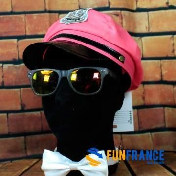 FUNFRANCE - E-Commerce Français : Casquette Police fluo rose avec écusson - 4€/ht - Casquette d'officier de police FLUO ROSE. Ma