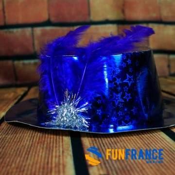 FUNFRANCE - E-Commerce Français : Chapeau fête bleu à plume - 1.208333€/ht - Chapeau de fête en carton bleu avec plume.Taille un