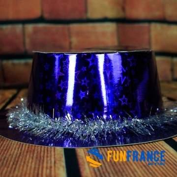 FUNFRANCE - E-Commerce Français : Chapeau fête bleu avec guirlande - 1.183333€/ht - Chapeau de fête en carton bleu avec guirland