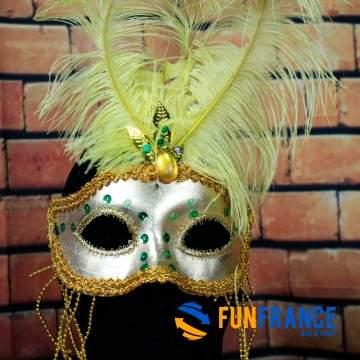FUNFRANCE - E-Commerce Français : Masque loup carnaval luxe à plumes - 2.666667€/ht - Masque loup carnaval luxe à plumes avec él