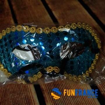 FUNFRANCE - E-Commerce Français : Masque loup paillettes et strass Bleu - 0.916667€/ht - Masque loup PVC rigide paillettes et st