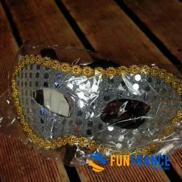 FUNFRANCE - E-Commerce Français : Masque loup paillettes et strass Argenté - 0.916667€/ht - Masque loup PVC rigide paillettes ar