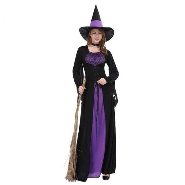 FUNFRANCE - E-Commerce Français : Déguisement sorcière pourpre adulte à manches longues avec chapeau - 18.95€/ht - Sorcière pour