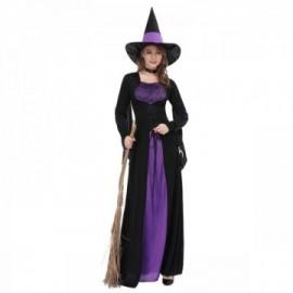Déguisement sorcière pourpre adulte à manches longues avec chapeau