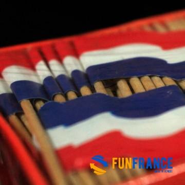 Pique en bois avec drapeau France / Pays bas