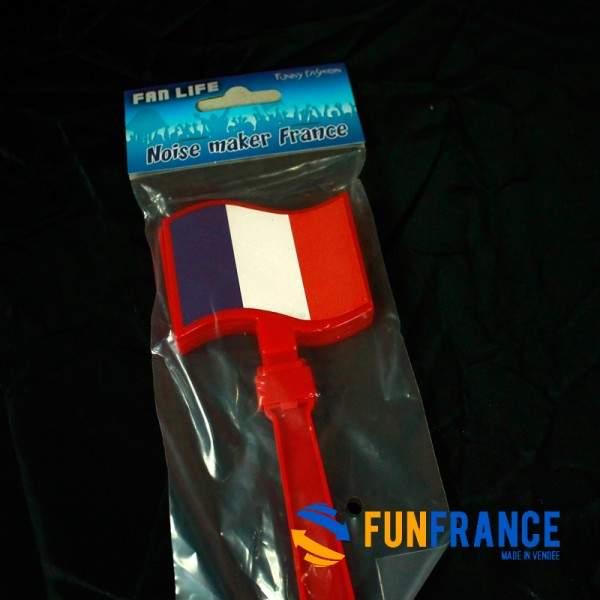 FUNFRANCE - E-Commerce Français : Crécelle FRANCE Bleu Blanc Rouge 17 x 7,5cm - 1.4€/ht - Crécelle FRANCE Bleu Blanc Rouge 17 x