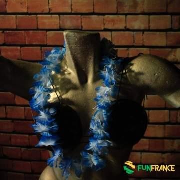 FUNFRANCE - E-Commerce Français : Collier Hawaï fleurs 6cm Bleu - Blanc - 0.75€/ht - Adoptez lelook de vahiné pourvos prochain