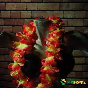 Collier fleurs Hawaï 11cm Orange & Jaune