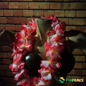 Collier fleurs Hawaï fleur Rose pistil jaune 11cm