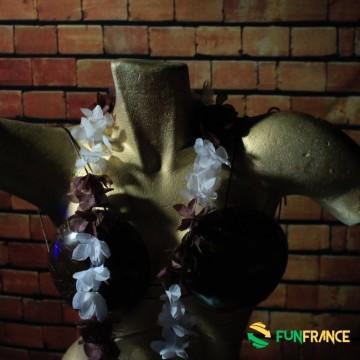 FUNFRANCE - E-Commerce Français : Collier fleurs Hawaï Marron et blanc 6cm - 0.98€/ht - Collier de fleurs Tahiti en textile synt