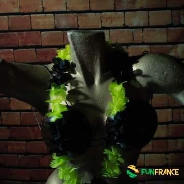 Collier de fleurs Hawaï Jaune et noir 6cm