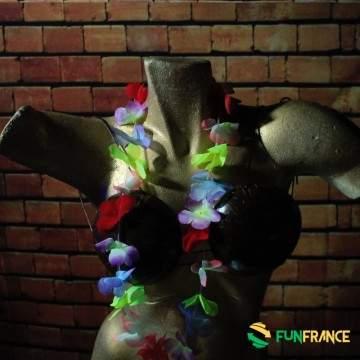FUNFRANCE - E-Commerce Français : Collier de fleurs Hawaï Multicolor 6cm - 0.391667€/ht - Collier de fleurs Tahiti en textile sy