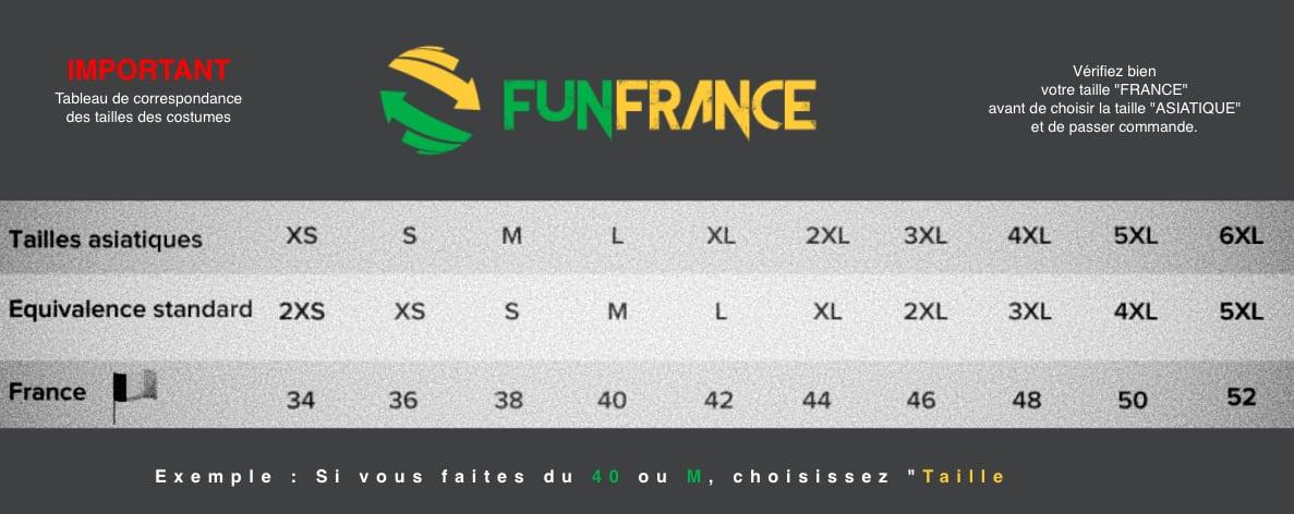 Tableau des tailles FRANCE - CHINE